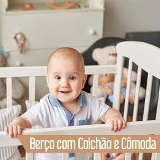 Berço com Colchão e Cômoda Infantil