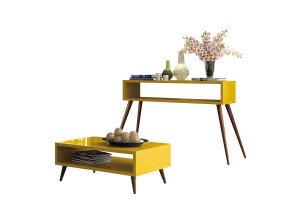 Aparador Quad e Mesa de Centro Lucy Amarelo – HB Móveis