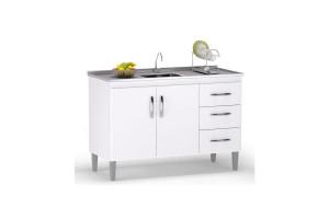 Balcao de cozinha Isabel 100 cm branco Brilho