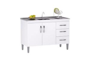 Balcão de Cozinha Isabel 100 cm Branco Brilho com Tampo - AJ