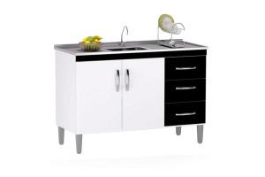 Balcão de Cozinha Isabel 120 cm Branco Preto com Tampo - AJL