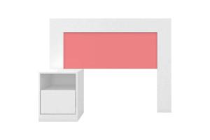 Cabeceira Solteiro London Branco Rosa Flex - Demóbile