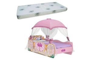 Cama Infantil Princesas Disney Star com Dossel Rosa e Colchã