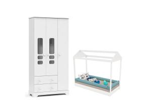 Cama Montessoriana com Guarda Roupa Smart 3 Portas Branco Br