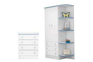 Cômoda e Guarda roupa infantil Doce Sonho Branco Azul Qmovi