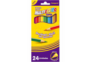 Lápis De Cor 24 Cores Grande Super Multicolor