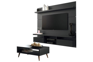 Painel para TV Home Suspenso Livin 1.8 e Mesa de Centro Pret