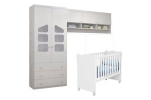 Quarto de Bebê Eloisa com Berço Doce Sonho Branco Brilho Pho
