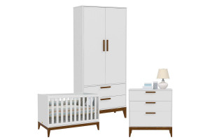 Quarto de bebê Nature Branco Acetinado Eco Wood