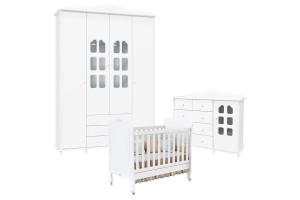 Quarto de Bebê Provence 4 Portas Branco Acetinado Matic