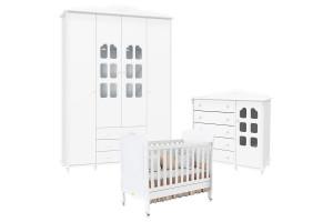 Quarto de Bebê Provence Slim 4 Portas Branco Acetinado Matic
