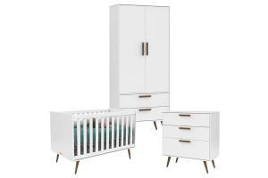 Quarto de Bebê Retro Branco Acetinado Eco Wood - Matic