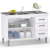 Balcão de cozinha interna Isabel 120 cm branco preto