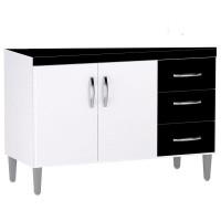 Balcão de Cozinha Isabel 100 cm Branco Preto - AJL