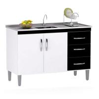 Balcão de Cozinha Isabel 100 cm Branco Preto com Tampo - AJL