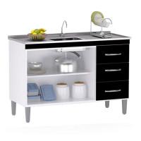 Balcão de Cozinha Isabel INTERNA 100 cm Branco Preto com Tam