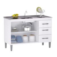 Balcão de Cozinha Isabel Interno 100 cm Branco Brilho com Ta