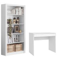 Escrivaninha Facility e Livreiro Presence Branco Brilho Demó