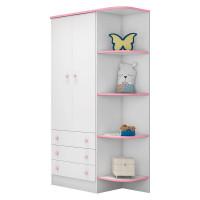 guarda roupa infantil com cantoneira doce sonho 105 rosa bra