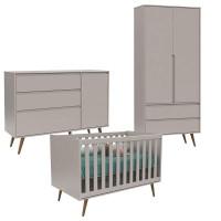 Quarto De Bebê 2 Portas Comoda Com Porta Retro Clean e Berço