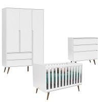 Quarto de Bebê 3 Portas Comoda e Berço Retro Clean Branco Ac