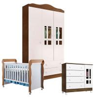 Quarto de Bebê Ariel 3 Portas com Berço Mirelle Branco Aceti