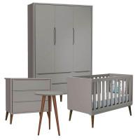 Quarto de Bebê Theo 3 Portas com Mesa de Canto Cinza com Pés